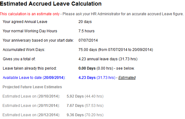 accrued leave calculation