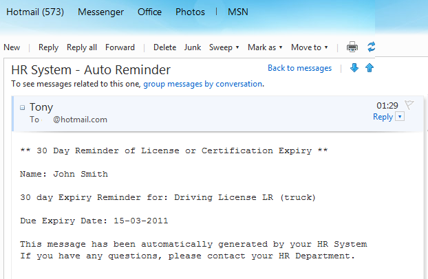 HRMS Expired License Notifications